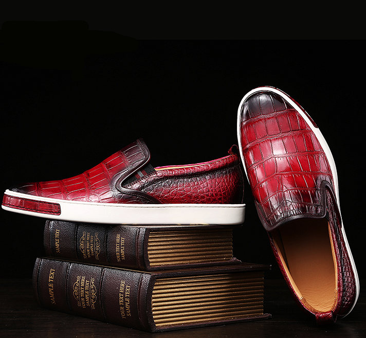 Mens Casual Slip-On Fashion Alligator Sneakers - Wine Red-Exhibition