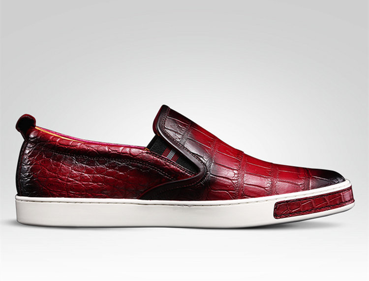Mens Casual Slip-On Fashion Alligator Sneakers - Wine Red-Side
