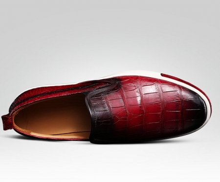 Mens Casual Slip-On Fashion Alligator Sneakers - Wine Red-Upper