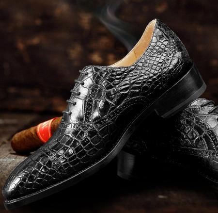 Mens Classic Modern Genuine Alligator Skin Cap-Toe Oxford Shoes-Exhibition
