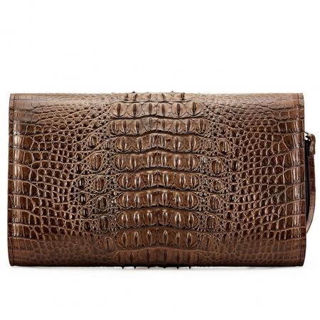 Men's Genuine Crocodile Wallet, Crocodile Envelope Flap Briefcase Purse Clutch Bag-Back