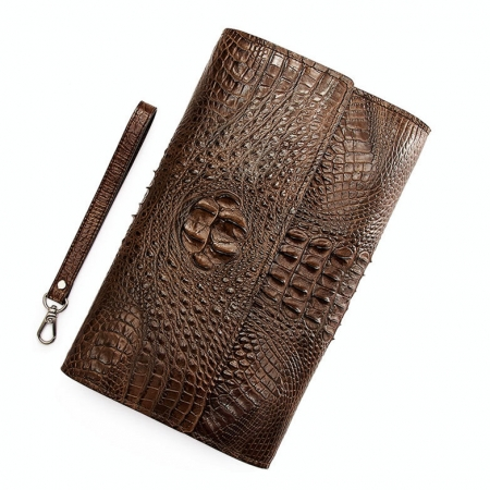Men's Genuine Crocodile Wallet, Crocodile Envelope Flap Briefcase Purse Clutch Bag-Exhibition