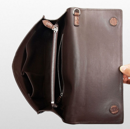 Men's Genuine Crocodile Wallet, Crocodile Envelope Flap Briefcase Purse Clutch Bag-Inside