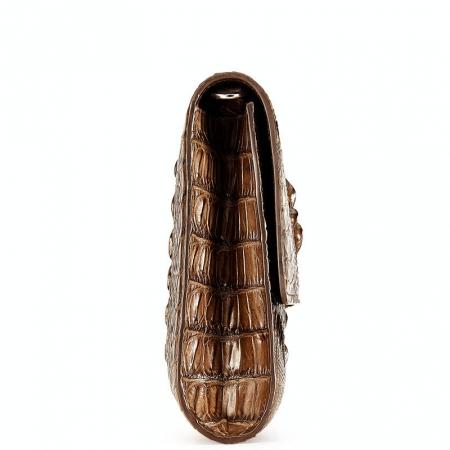 Men's Genuine Crocodile Wallet, Crocodile Envelope Flap Briefcase Purse Clutch Bag-Side