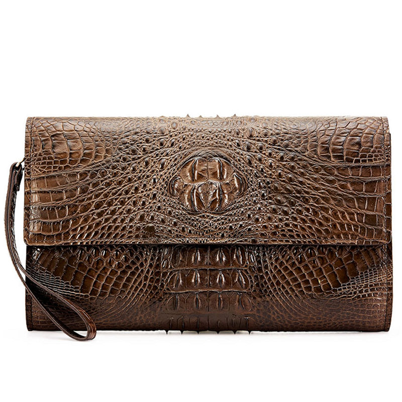 Men's Genuine Crocodile Wallet, Crocodile Envelope Flap Briefcase Purse Clutch Bag