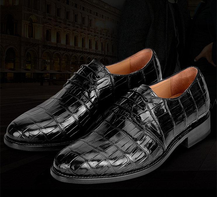 Men's Premium Genuine Alligator Skin Dress Shoes-Black-Exhibition