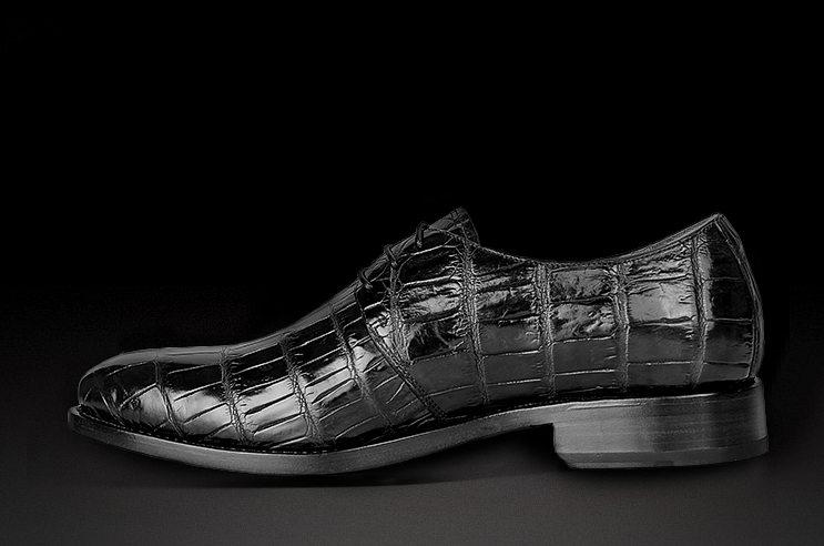 Men's Premium Genuine Alligator Skin Dress Shoes-Black-Side