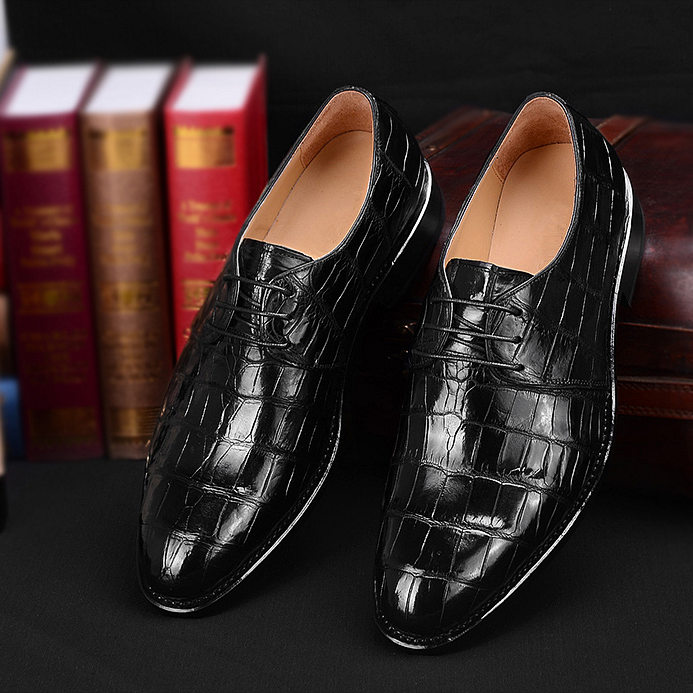 Men's Premium Genuine Alligator Skin Dress Shoes-Black