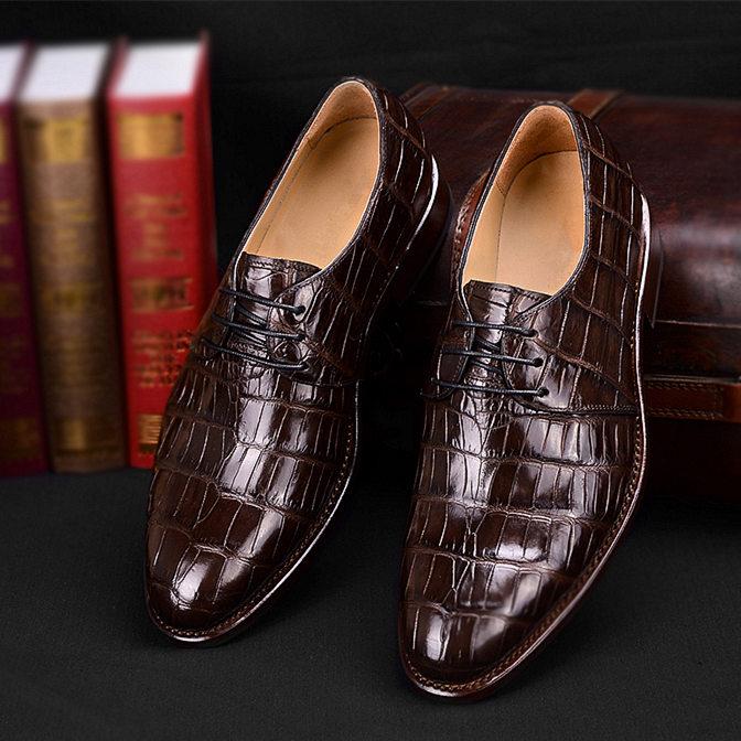 Men's Premium Genuine Alligator Skin Dress Shoes