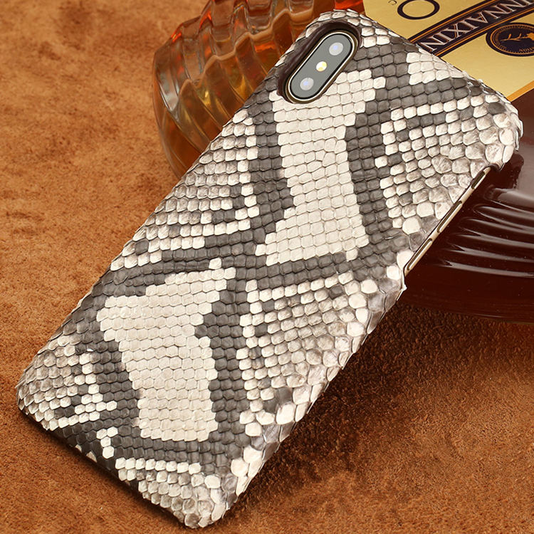 Snakeskin iPhone X Case-Python Back Skin-White