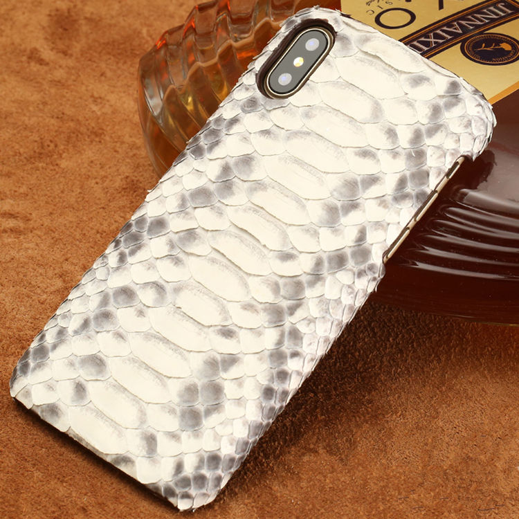 Snakeskin iPhone X Case-Python Belly Skin-White