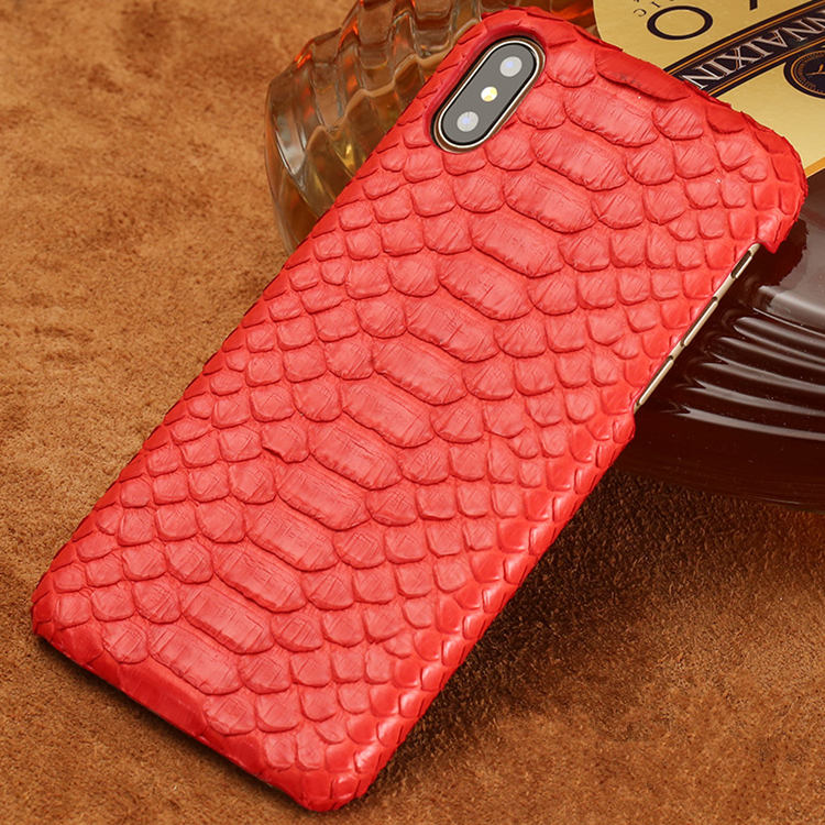 Snakeskin iPhone X Case-Red