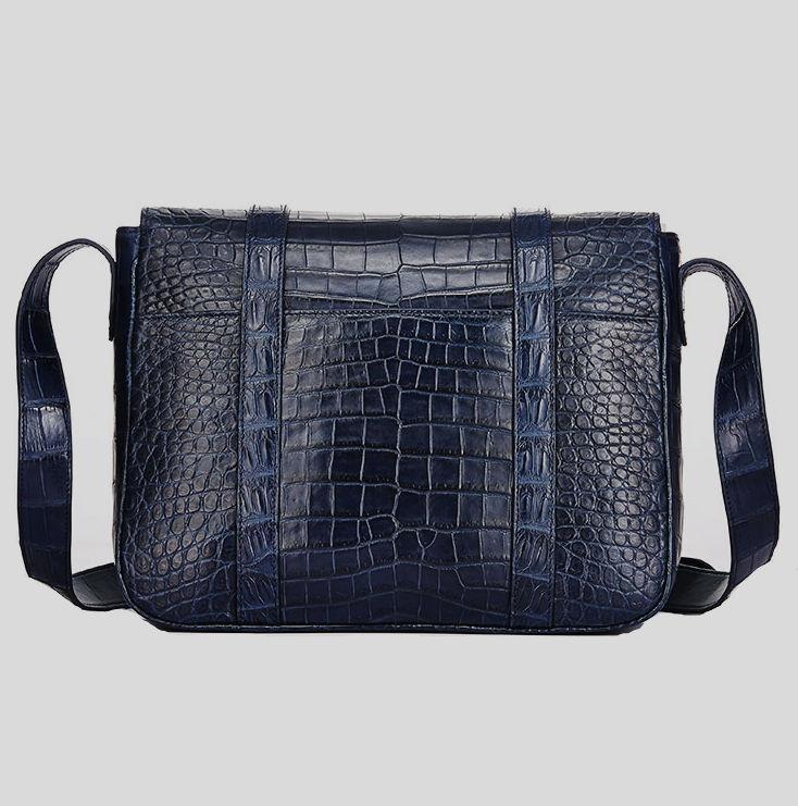 Alligator Leather Satchel Briefcase Messenger Bag Laptop Bag-Back