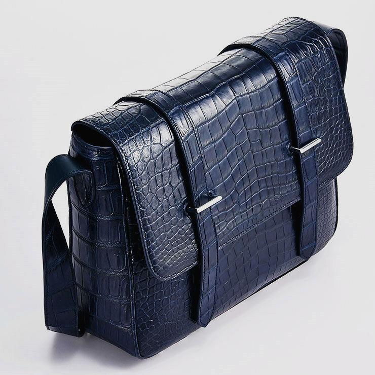 Alligator Leather Satchel Briefcase Messenger Bag Laptop Bag-Top