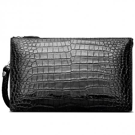 Genuine Alligator Skin Big Clutch Bag Wristlet Handbag Organizer Wallet
