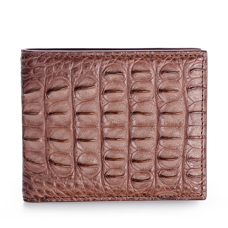 Authentic Crocodile Backbone Skin Bifold Wallet-Brown