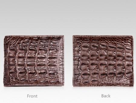 Authentic Crocodile Backbone Skin Bifold Wallet-Dark Brown-Details