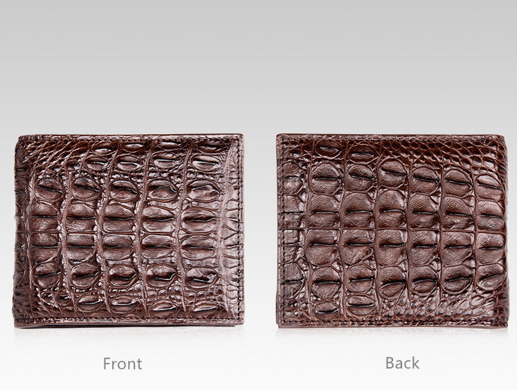 Authentic Crocodile Backbone Skin Bifold Wallet-Dark Brown-Details