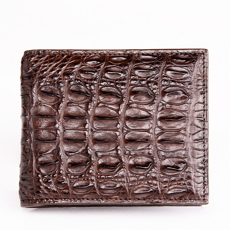 Authentic Crocodile Backbone Skin Bifold Wallet-Dark Brown