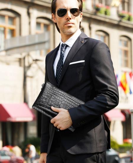 Business Mens Genuine Alligator Skin Big Clutch Bag Wristlet Handbag Organizer Wallet