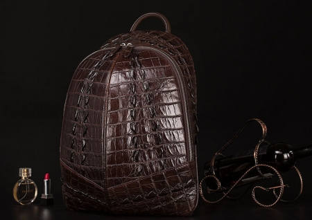 Crocodile Backpack, Fashion Crocodile Cycling Backpack-Brown-Exhibition