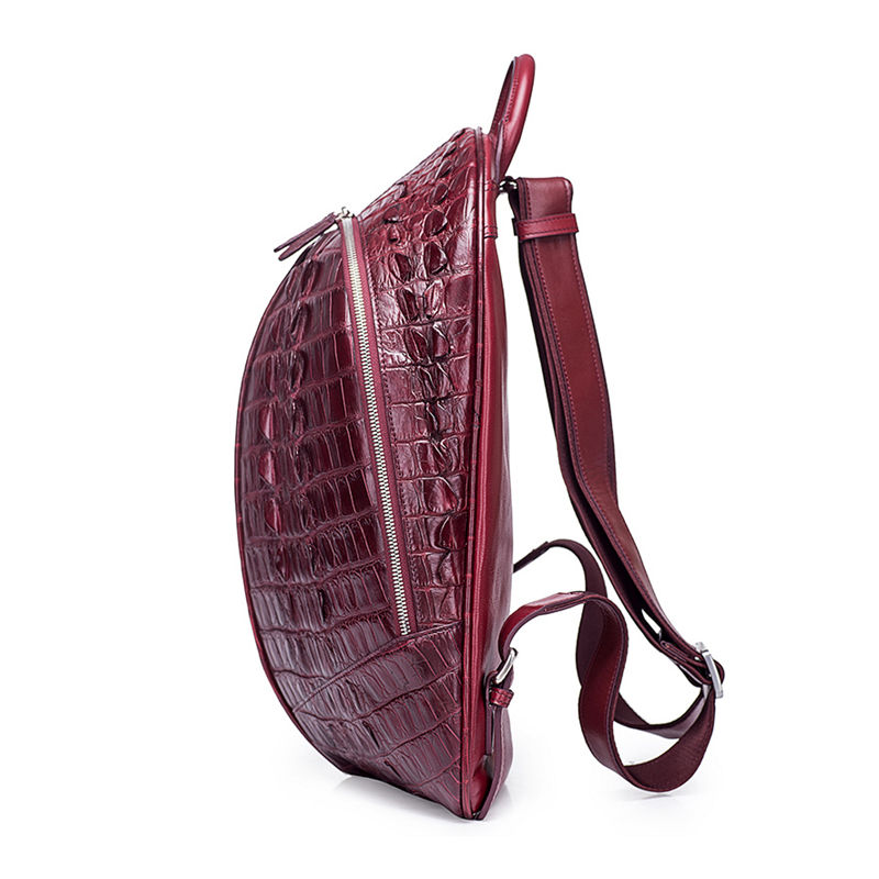 Crocodile Backpack, Fashion Crocodile Cycling Backpack-wine red-Side