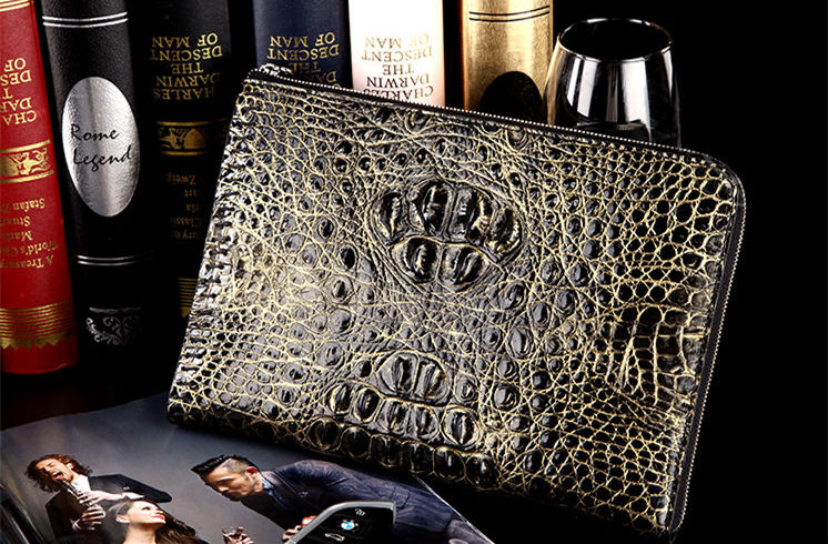 Crocodile Leather Clutch Wallet for Men