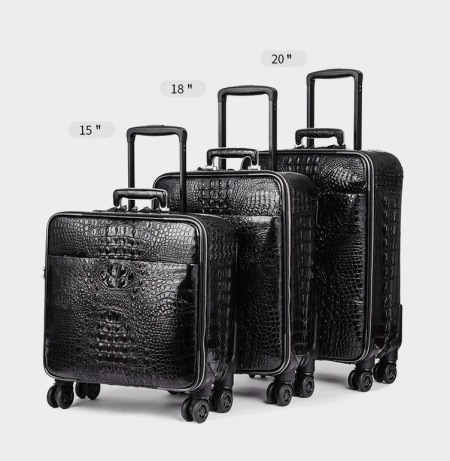 Crocodile Leather Luggage Bag Business Trolley Travel Bag-Size