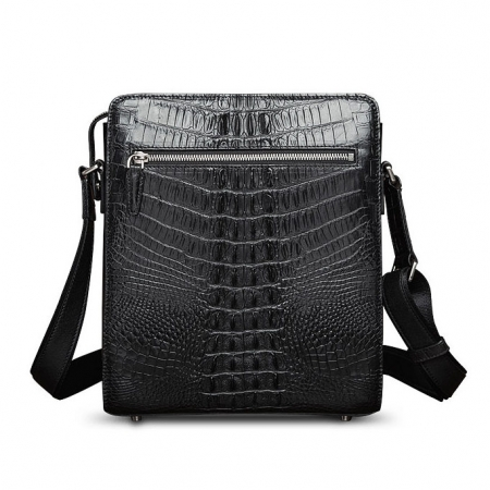 Crocodile Leather Messenger Bag Shoulder Bag Crossbody Bag-Back