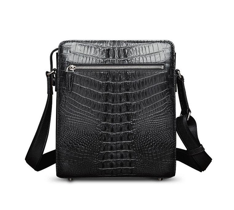 Crocodile Leather Messenger Bag Shoulder Bag Crossbody Bag-Back