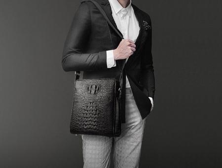 Crocodile Leather Messenger Bag Shoulder Bag Crossbody Bag-Black-1