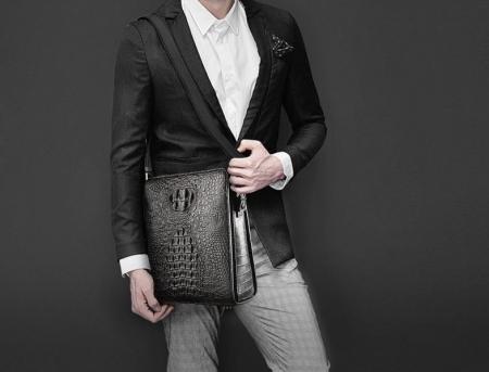 Crocodile Leather Messenger Bag Shoulder Bag Crossbody Bag-Black