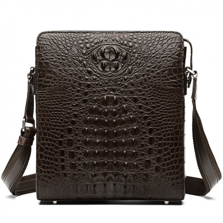 Crocodile Leather Messenger Bag Shoulder Bag Crossbody Bag-Brown