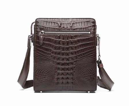 Crocodile Leather Messenger Bag Shoulder Bag Crossbody Bag-Brown-back