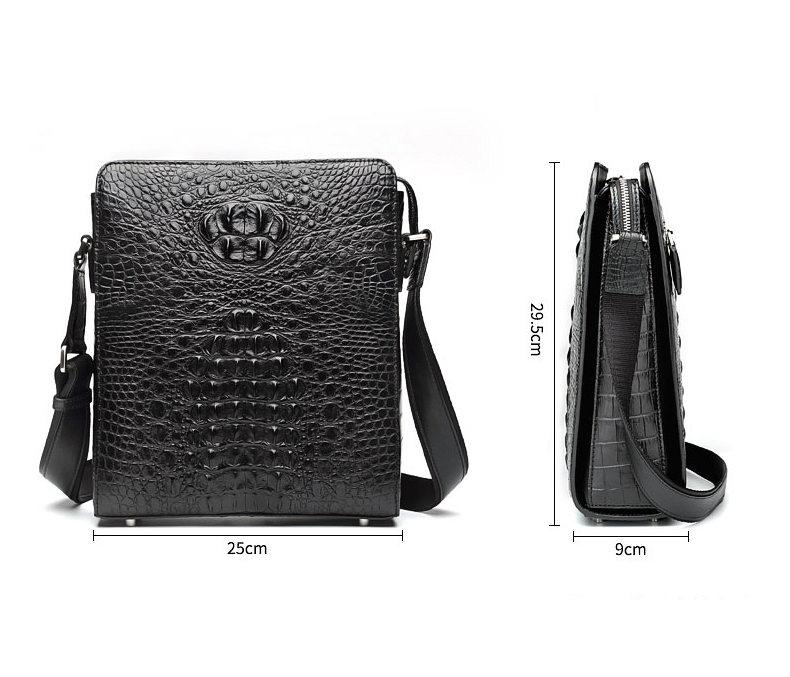 Crocodile Leather Messenger Bag Shoulder Bag Crossbody Bag-Size