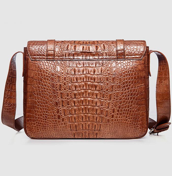 Crocodile Leather Satchel Briefcase Messenger Bag Laptop Bag-Back