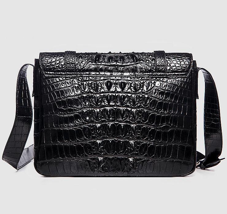 Crocodile Leather Satchel Briefcase Messenger Bag Laptop Bag-Black-Back