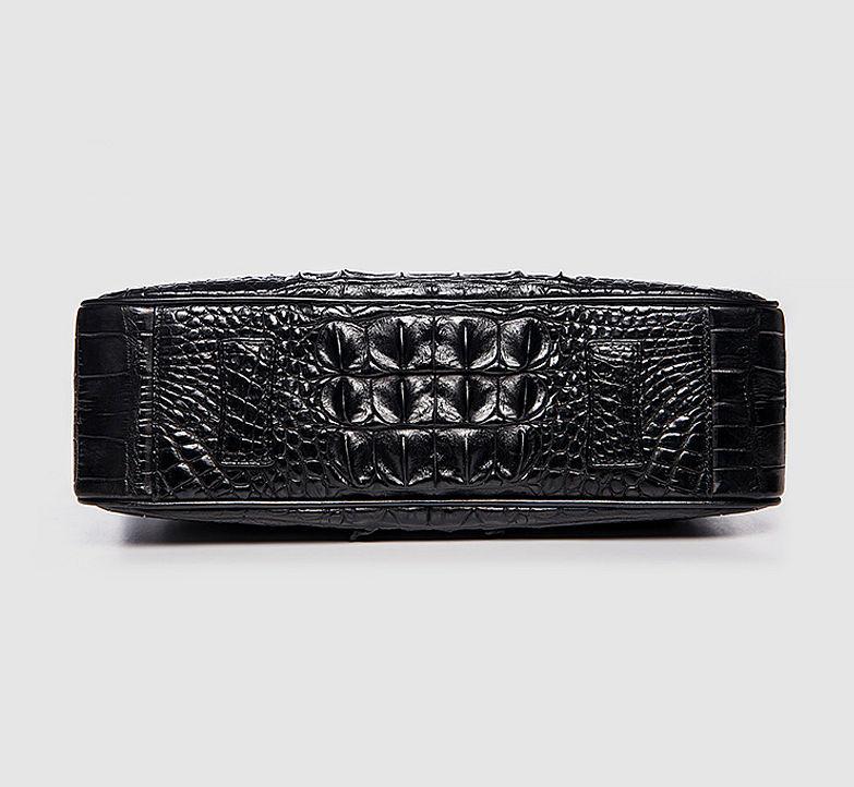 Crocodile Leather Satchel Briefcase Messenger Bag Laptop Bag-Black-Bottom