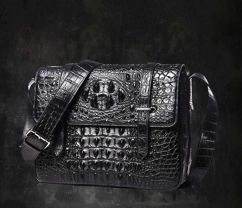 Crocodile Leather Satchel Briefcase Messenger Bag Laptop Bag-Black-Exhibition