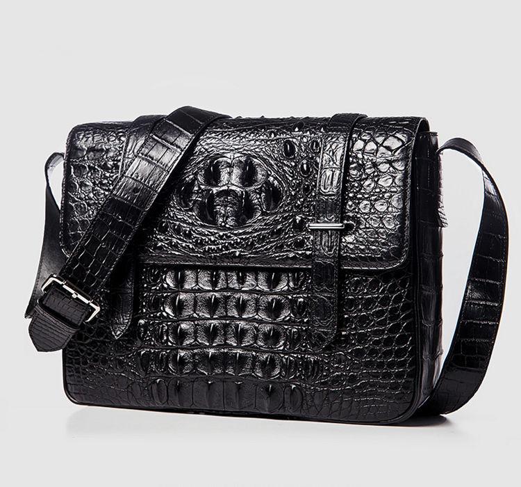 Crocodile Leather Satchel Briefcase Messenger Bag Laptop Bag-Black-Front