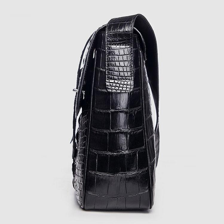 Crocodile Leather Satchel Briefcase Messenger Bag Laptop Bag-Black-Side