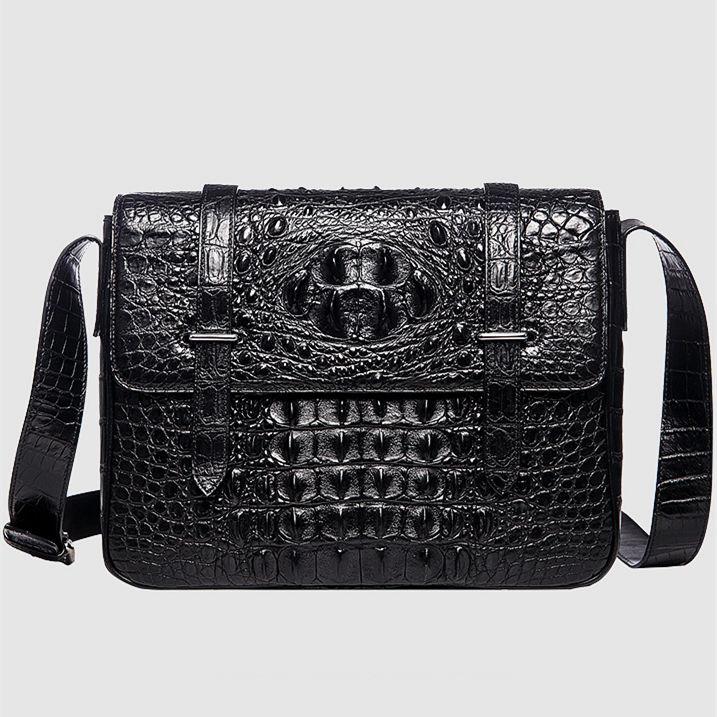 Crocodile Leather Satchel Briefcase Messenger Bag Laptop Bag-Black