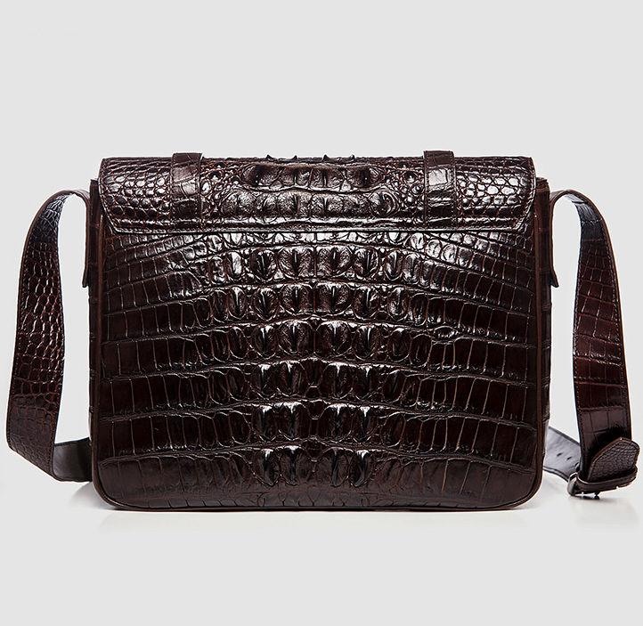 Crocodile Leather Satchel Briefcase Messenger Bag Laptop Bag-Dark Brown-Back