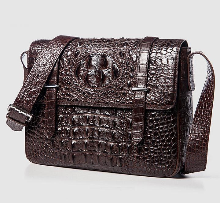Crocodile Leather Satchel Briefcase Messenger Bag Laptop Bag-Dark Brown-Front