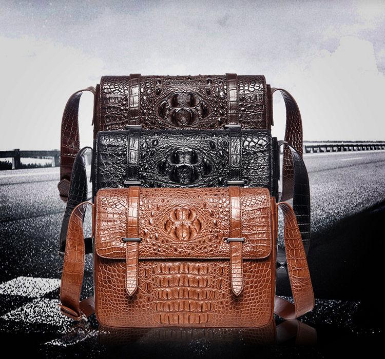 Crocodile Leather Satchel Briefcase Messenger Bag Laptop Bag-Exhibition