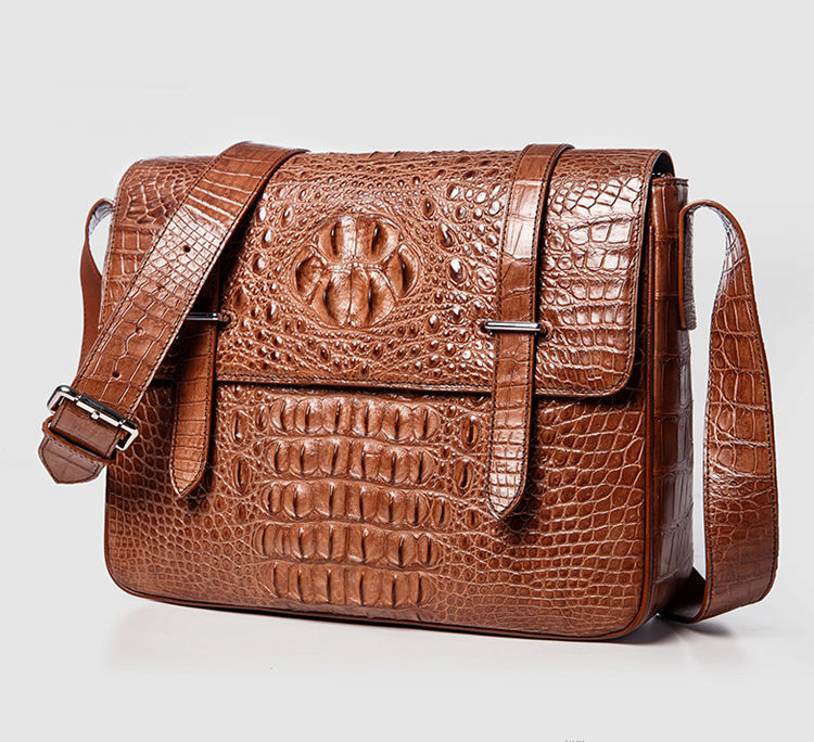 Crocodile Leather Satchel Briefcase Messenger Bag Laptop Bag-Front