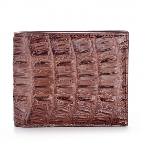 Crocodile Tail Skin Wallet, Vintage Crocodile Bifold Wallet-Brown