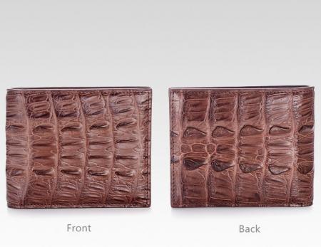Crocodile Tail Skin Wallet, Vintage Crocodile Bifold Wallet-Brown Details