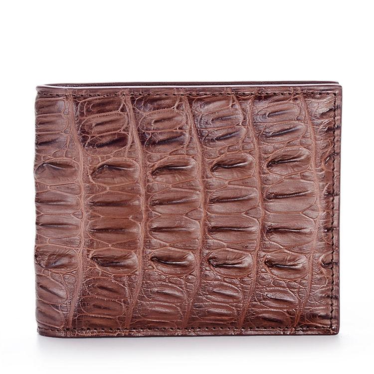 Crocodile Tail Skin Wallet, Vintage Crocodile Bifold Wallet-Brown