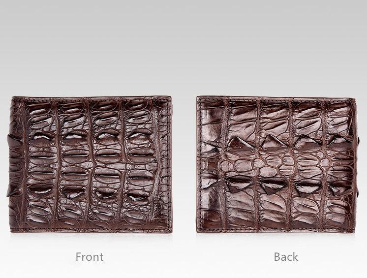 Crocodile Tail Skin Wallet, Vintage Crocodile Bifold Wallet-Dark Brown-Details
